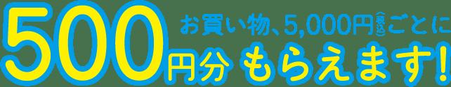 お買い物、5,000円(税込)ごとに500円分もらえます!